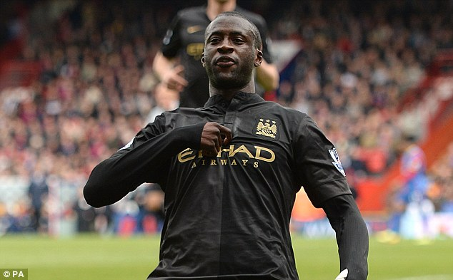 Vital: Yaya Toure has scored 20 of Manchester City's 100 Premier League goals
