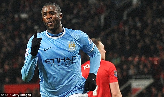 Driving force: The Ivorian has scored some vital goals for City including this one against Manchester United
