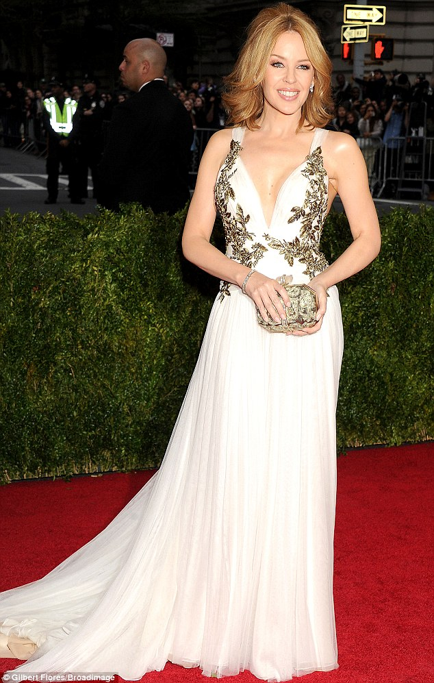 Showstopper: Kylie dazzled at the Met Ball on Monday evening in a Marchesa gown