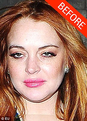 Oh dear: Nothing can alter the fact that this is an incredibly unflattering photo of Lindsay Lohan, but we did smooth her skin out and lift those faint wrinkles off