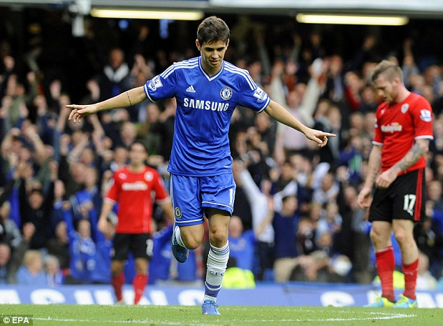Little trouble: Oscar scored Chelsea's third goal in a 4-1 win over Cardiff at Stamford Bridge
