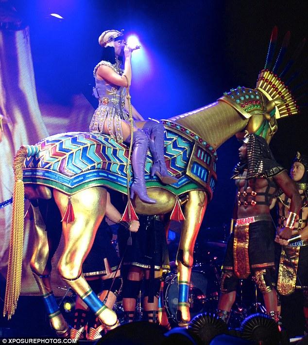 Stallion: Katy made a grand entrance on a golden horse