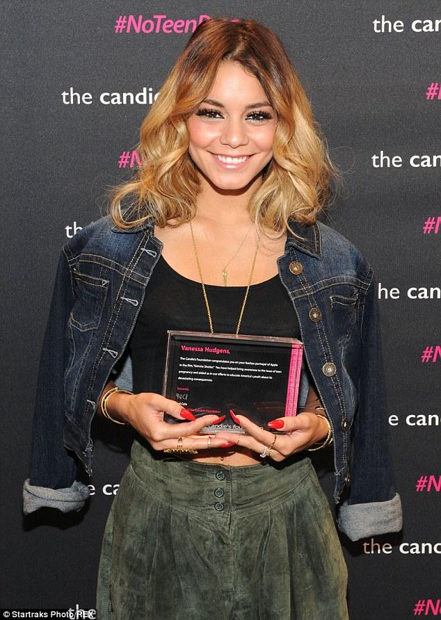 Proud: The actress displayed her award