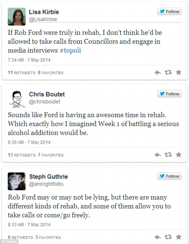 Conflicting opinions: The citizens of Toronto are divided on whether or not Rob Ford is actually in rehab