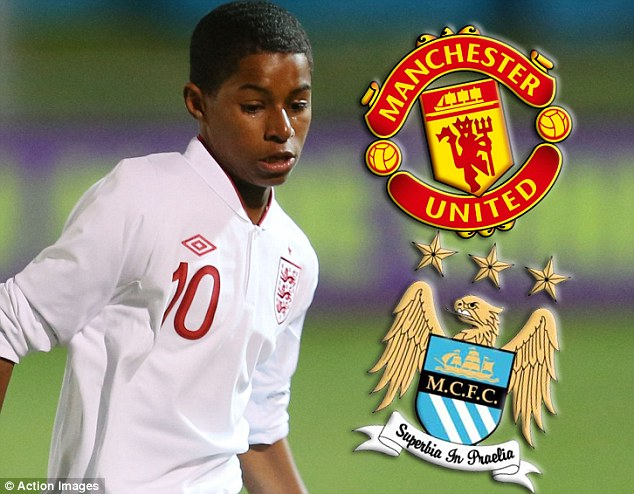 Tug of war: Manchester City are keen to take starlet Marcus Rushford from neighbours Manchester United