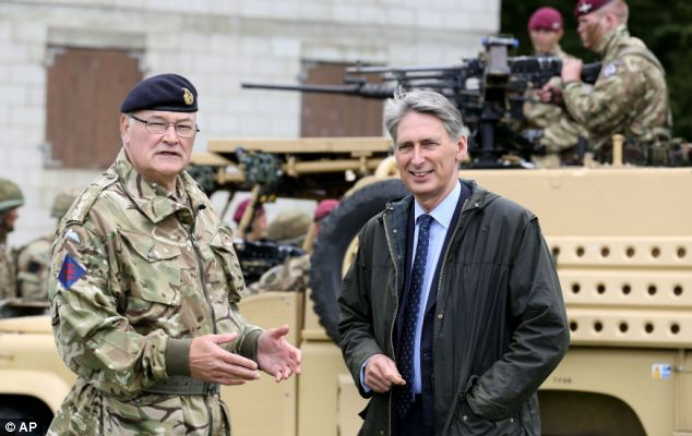 British Defence Secretary Philip Hammond pictured with Chief of the General Staff Sir Peter Wall who has also backed the move