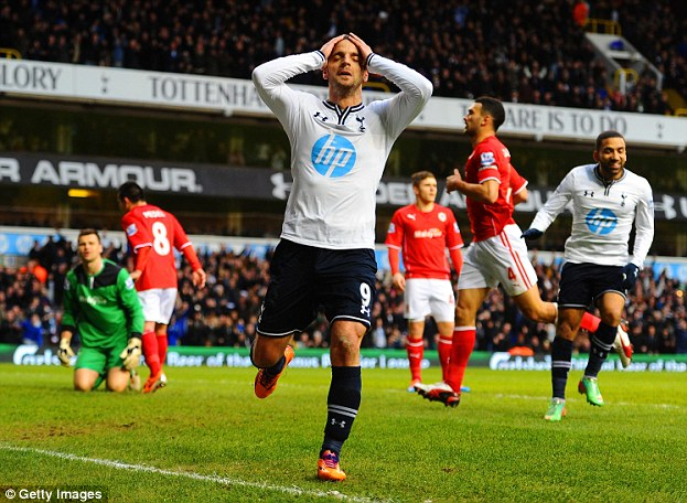 Season of woe: Roberto Soldado arrived at White Hart Lane from Valencia at a cost of £26m