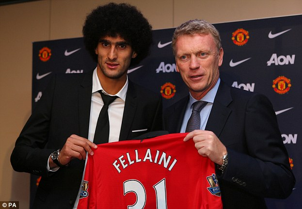Big move: Marouane Fellaini followed David Moyes (right) from Everton to United but it has not worked out