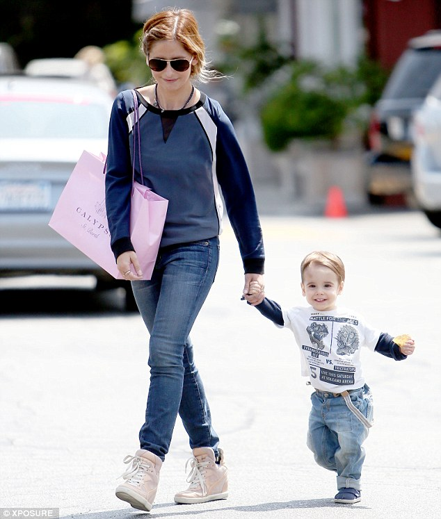 Shopping time: Sarah Michelle Gellar and her son Rocky headed to the Brentwood Country Mart on Thursday