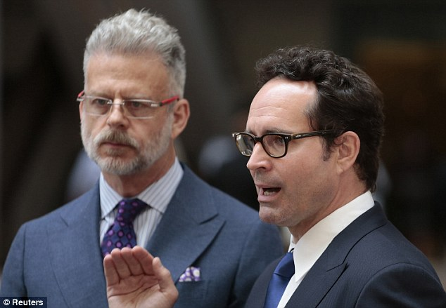 Legal battle: Actor Jason Patric (right) and his attorney Fred Silberberg (left) seen earlier this month. A California appeals court reverses a trial judge who wouldn't allow Patric as sperm donor to have any relationship with his in vitro son