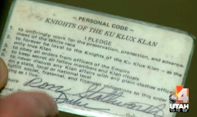Official: This membership card was signed by  then-Grand Wizard of the Knights of the Ku Klux Klan, David Duke