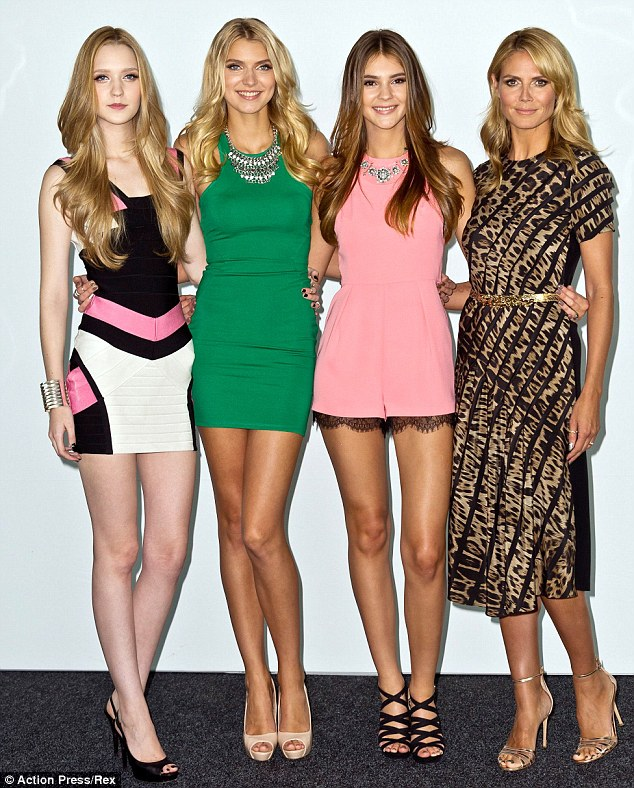 The line up: Finalists, from left, Ivana Teklic, Jolina Fust and Stefanie Giesinger with Heidi before the finale of Germany's Next Top Model, which Stefanie won