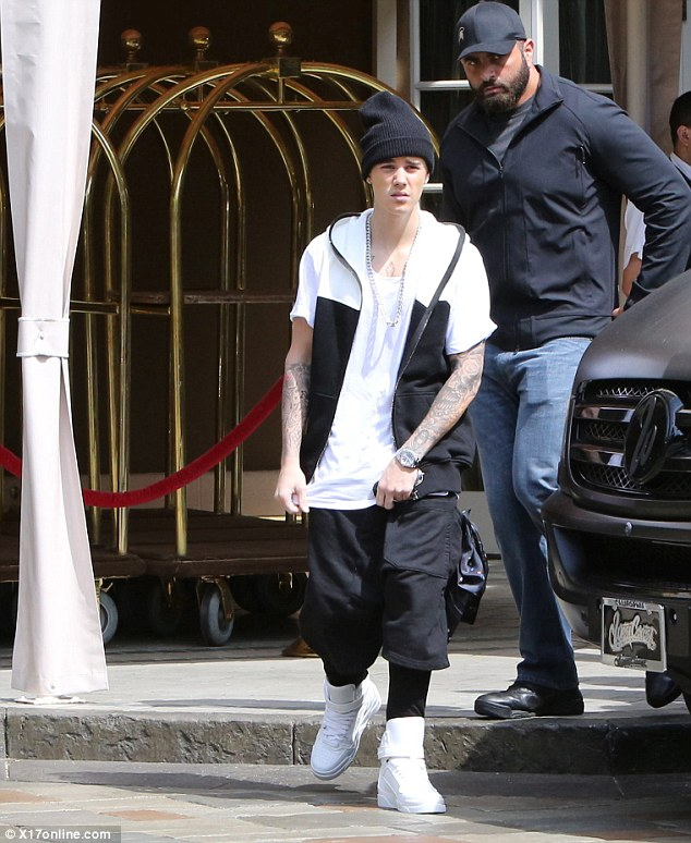 Heading out: The star was reported to have been on his way to the recording studio