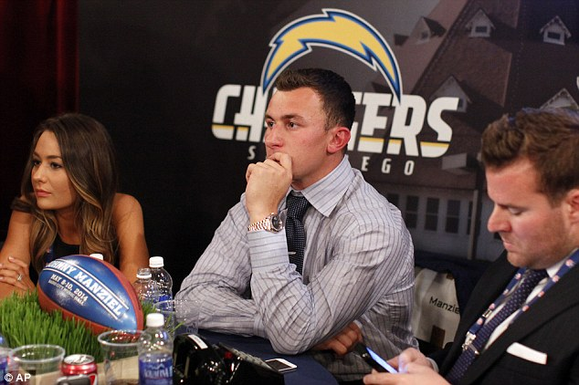 Johnny Manziel, from Texas A&M, waits nervously backstage during the first round of the NFL football draft at Radio City Music Hall in New York on Thursday