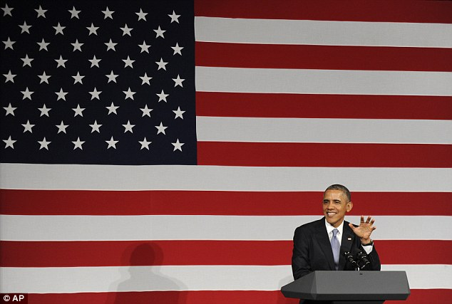 Important message: President Barack Obama speaks at a Democratic National Committee reception in San Jose, before he was heckled