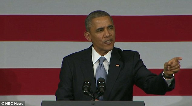 Let me finish: The president responds to his heckler, asking him to quieten down so he can finish his speech