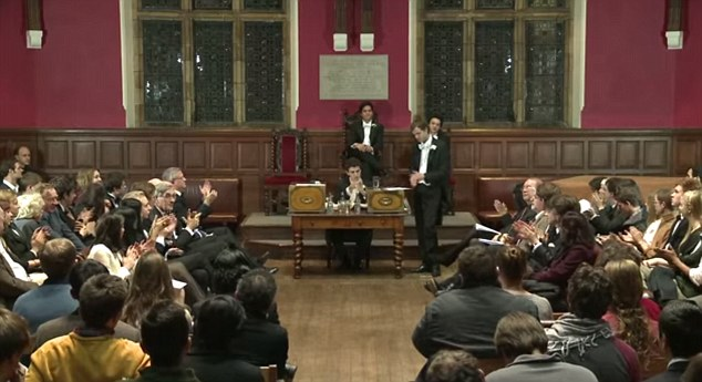 Historic: The Oxford Union is famous for its high-profile speaker events. Sullivan is pictured presiding at one such event