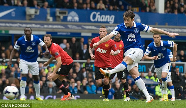 Deadly: Toffees left-back Baines is a bit of a specialist when it comes to free-kicks and penalties