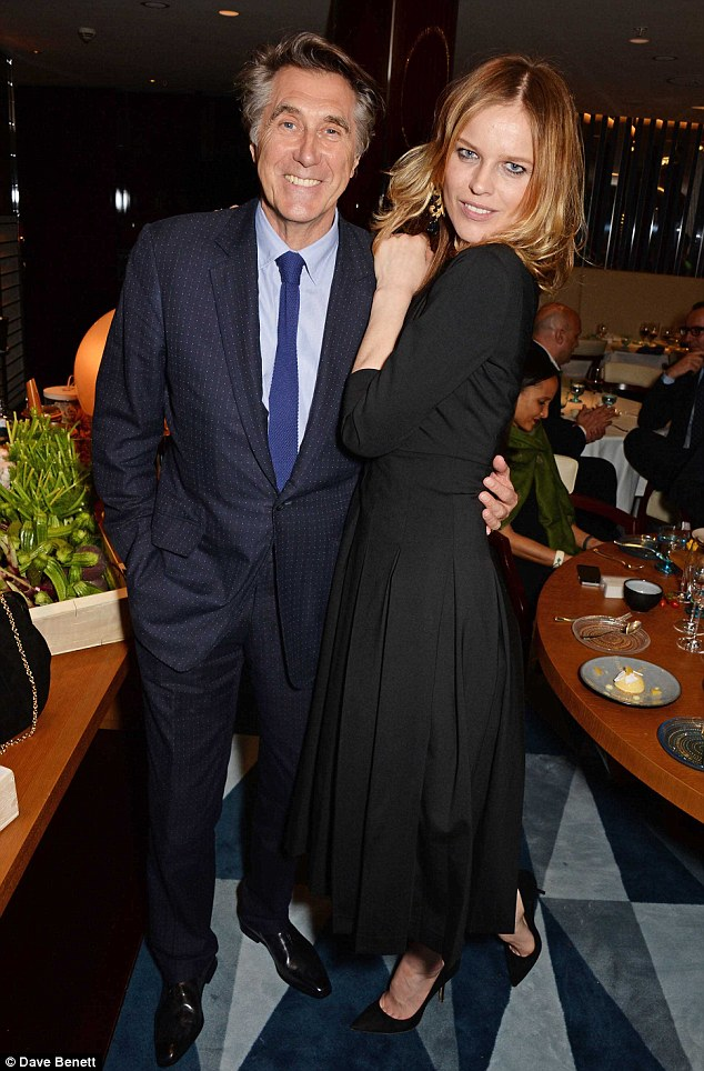 Let's stick together: Rocker Bryan Ferry with model Eva Herzigova