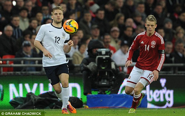 Unfazed: Luke Shaw had no problem settling in to the England side on his debut against Denmark in March