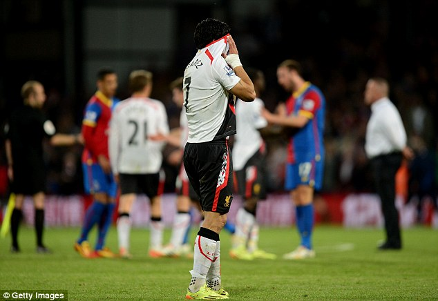 tearful end: Luis Suarez reacts at the final whistle after Liverpool drew 3-3 at Crystal Palace