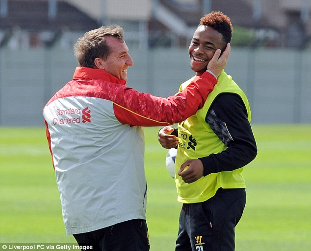 Cheeky slap: Liverpool boss Brendan Rodgers shares a joke with Raheem Sterling in training