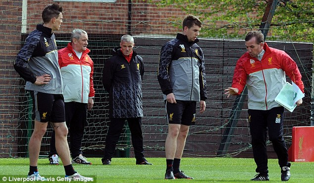 Defensive drills: Brendan Rodgers instructs defender Jon Flanagan at Melwood