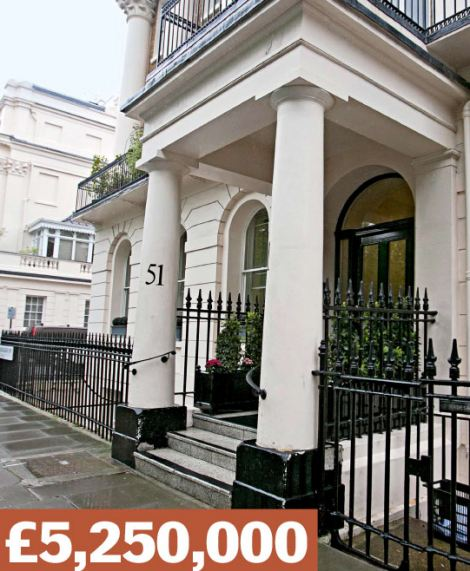 Eaton Square, Belgravia: A flat where average prices top £2.5¿million. Former locals include Roger Moore and Jose Mourinho