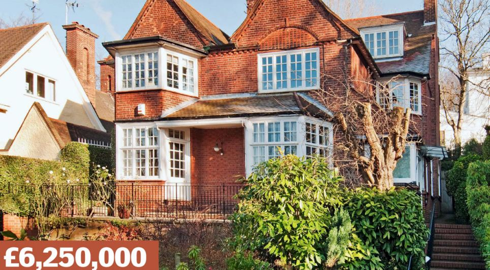 Redington Road, Hampstead, London NW3: A detached six-bedroom house with its own art studio. Neighbours on this exclusive street near Hampstead Heath include footballer Thierry Henry and actor Tom Conti