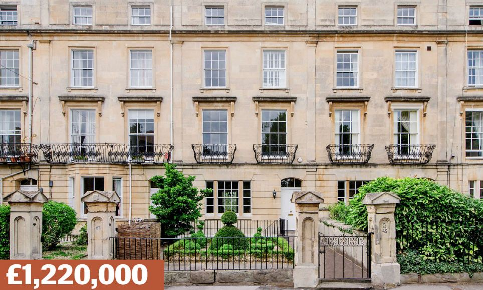 Apsley Road, Clifton, Bristol: A Grade II-listed Georgian townhouse with six bedrooms, near graffiti artist Banksy's haunts and where chef Keith Floyd ran Floyd's Restaurant. Sold for £1.1million in 2010