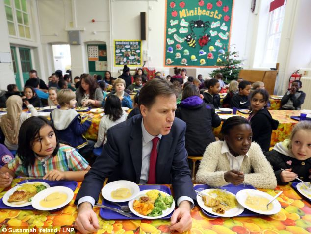 Big spender: Nick Clegg ignored warnings his flagship free school meals plan would be so expensive that spending cuts on 'teaching and learning' could be required, emails revealed yesterday