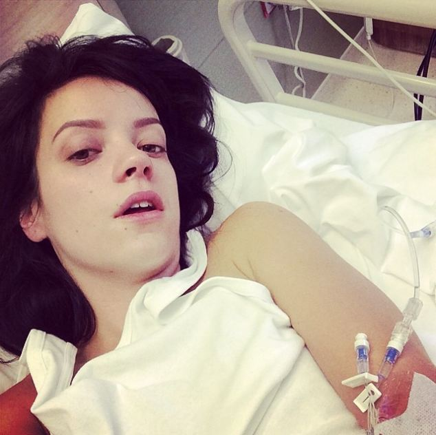 Lily Allen is the latest famous face to be admitted to hospital but still manage to summon the strength to tweet a sick bed selfie after being admitted for treatment