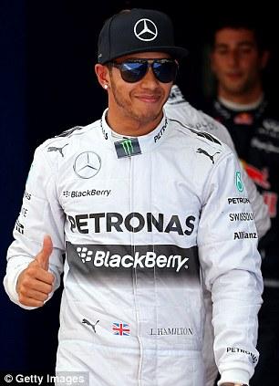 Thumbs up: Lewis Hamilton