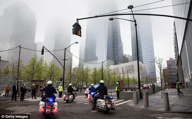Reflective weather: The fog that settled over Manhattan this morning set the tone for the event