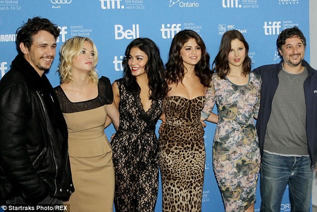 Canadian Break: The cast at the Toronto International Film Festival in 2012: (L-R) James Franco, Ashley, Vanessa Hudgens, Selena Gomez, Rachel Korine and Harmony Korine