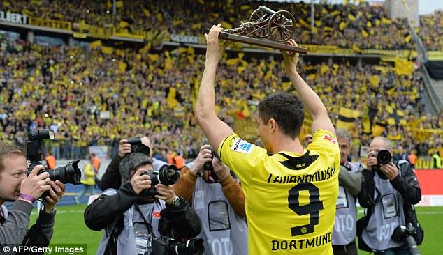 Farewell: Lewandowski's final Bundesliga match for Dortmund ended as a 4-0 win for his side