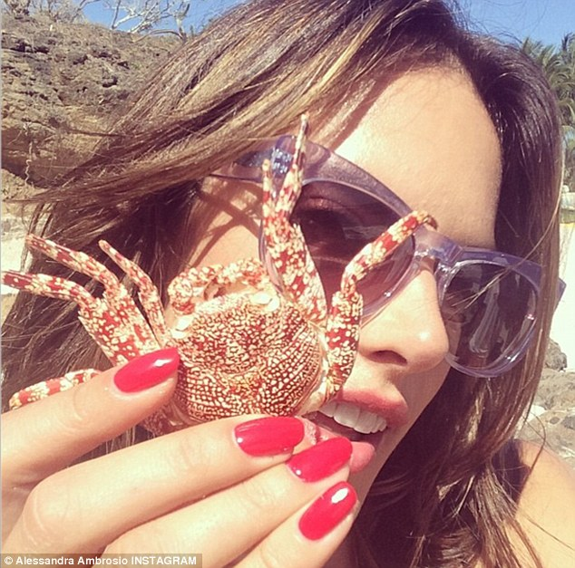 Feeling crabby: Alessandra picked up a local crab for this cute selfie