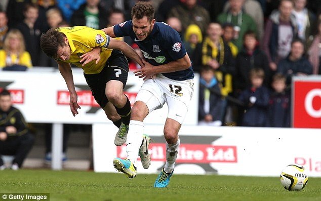 Resolve: Lee Bell of Burton (left) contesting with Will Atkinson of Southend for the ball