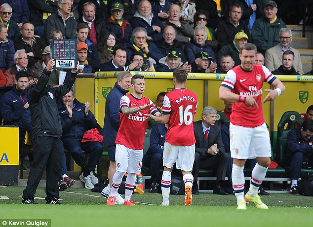 Testing time: Wilshere was given half an hour to impress Roy Hodgson when he replaced Aaron Ramsey