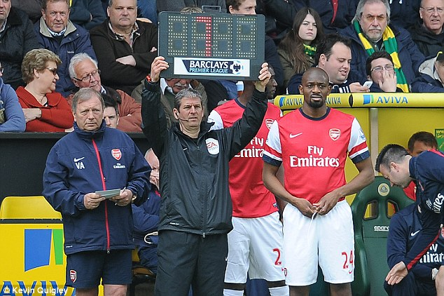 Present: Arsene Wenger gave Diaby some game time on his 28th birthday