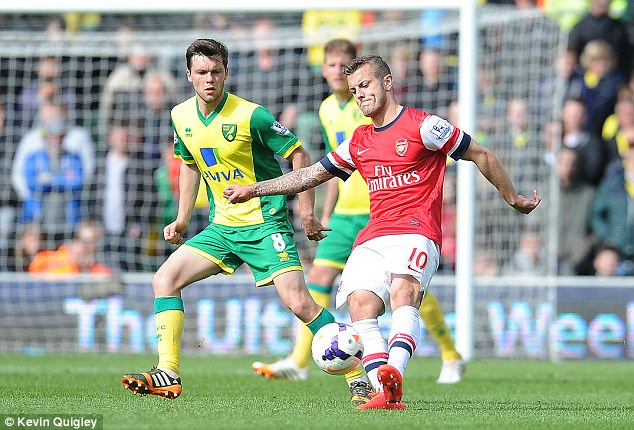 Up for it: Wilshere's return comes the day before Hodgson names his 23-man England World Cup squad
