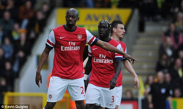 Welcome sight: Diaby takes his place to defend a corner in Arsenal's 2-0 win at Carrow Road