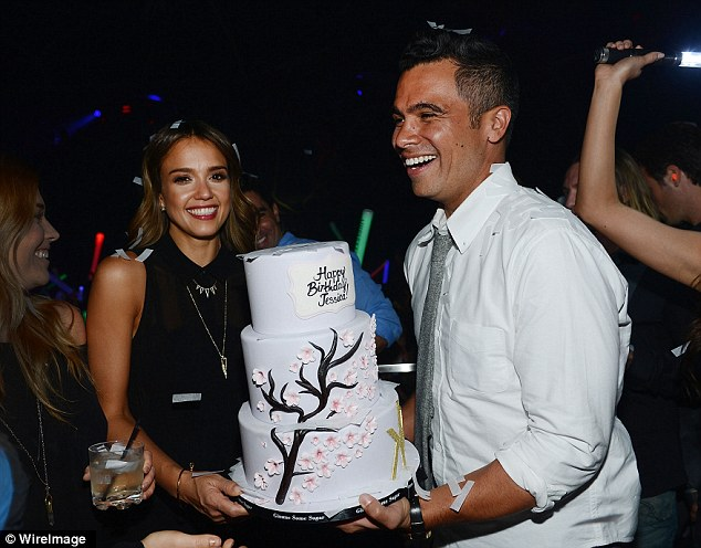 Birthday girl: Jessica Alba celebrated her 33rd year with a grown-up bash at Hakkasan nightclub in Las Vegas on Friday with husband Cash Warren and friends