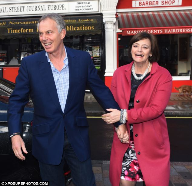Tony and Cherie Blair were spotted in Marylebone, London, yesterday evening while heading for a meal out in the city's trendiest new restaurant