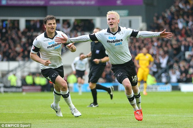 Wembley-bound: Derby County's Will Hughes celebrates scoring the opener in the 3-0 win over Brighton