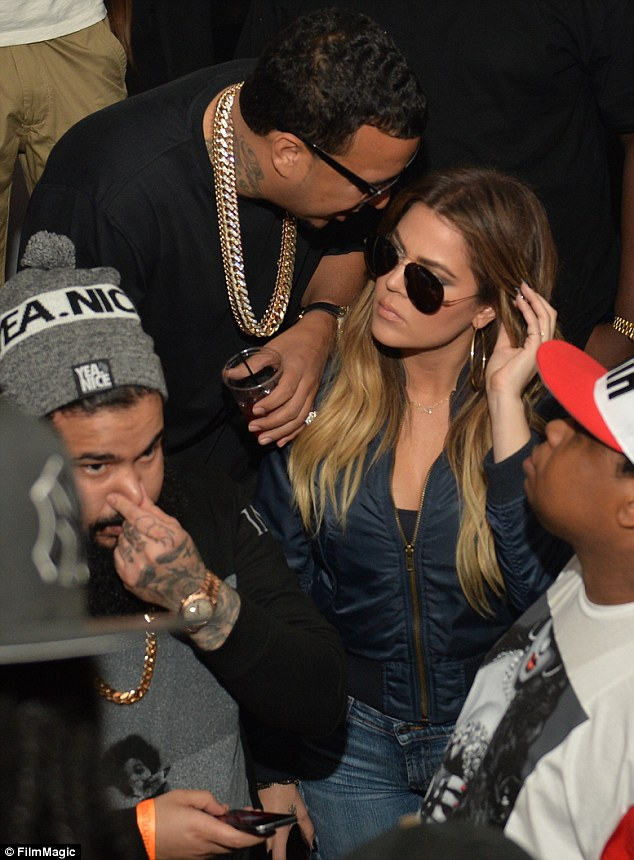 Night out: Khloe and French were seen partying at Compound in Atlanta, Georgia on Saturday night