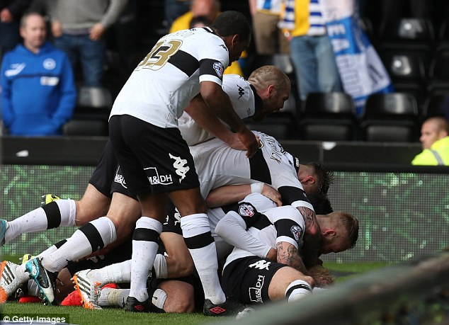 Clash: The winners of the second leg will play Derby in the final at Wembley after beating Brighton