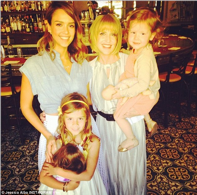 Four is better: Jessica Alba shared a picture of her celebrating Mother's Day with her daughters Honor and Have and mother Cathy Alba