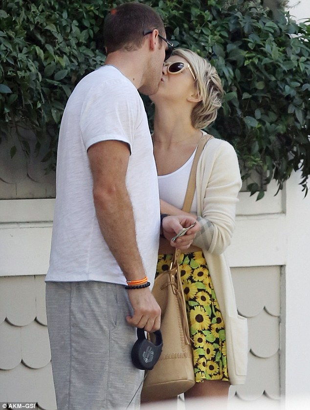 Feel the love: Julianne Hough and her boyfriend Brooks Laich were seen kissing during their afternoon in Santa Monica, California on Saturday