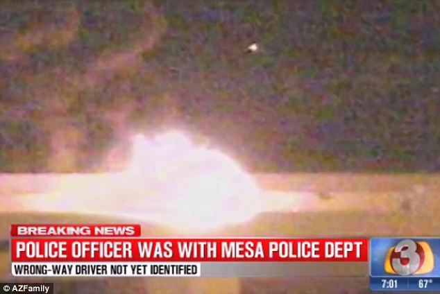 Tragic: The driver was reportedly burned so badly that authorities weren't sure if he could be identified. Mendoza was transported to a hospital and later died